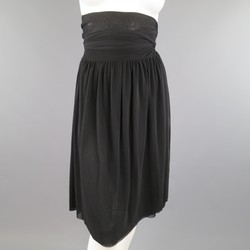 JEAN PAUL GAULTIER Size M Black Micro Mesh Wrap Flare Skirt