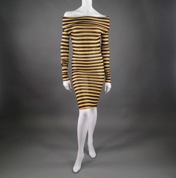 JEAN PAUL GAULTIER Size M Black/Taupe Polimide Turtleneck Striped Dress