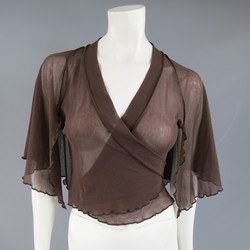 JEAN PAUL GAULTIER Size M Brown Mesh Cropped Wrap Capelet Top