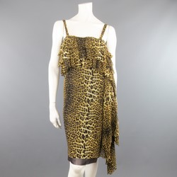 JEAN PAUL GAULTIER Size XS Cheetah Leopard Mesh Asymmetrical Ruffle Dress