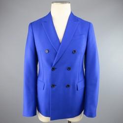JIL SANDER 36 Short Royal Blue Double Breasted Peak Lapel Sport Coat