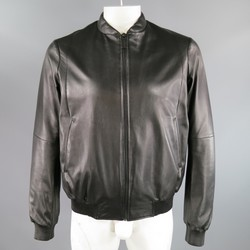 JIL SANDER 40 Black Leather Bomber Jacket