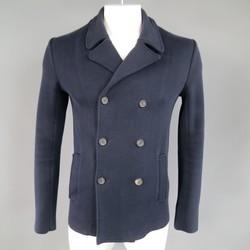JIL SANDER 40 Navy Cotton Soft Shoulder Knit Double Breasted Peacoat Jacket