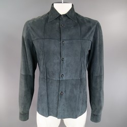 JIL SANDER 40 Navy Suede Collared Windowpane Seam Shirt Jacket