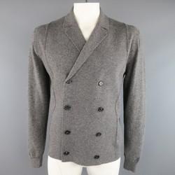 JIL SANDER 42 Heather Grey Wool Blend Knit Double Breasted Cardigan