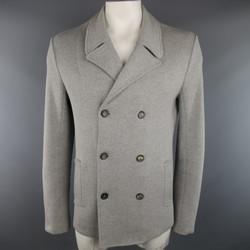 JIL SANDER 42 Light Grey Cotton KNit Dowble Breasted Sport Coat Jacket