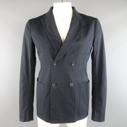 JIL SANDER 42 Regular Navy Cotton Double Breasted Knit Back Panel Sport Coat