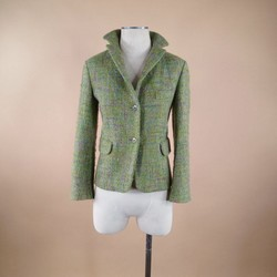 JIL SANDER Size 6 Green Wool Boucle Jacket