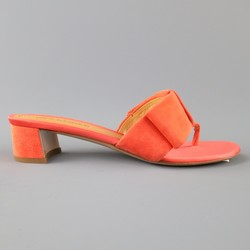 JIL SANDER Size 7 Coral Orange Suede & Satin Bow Sandals