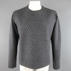 JIL SANDER Size L Dark Heather Gray 3D Textured Wool / Cashmere Pullover