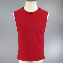 JIL SANDER Size M Burgundy & Black Wool Blend Sleeveless Crewneck Vest