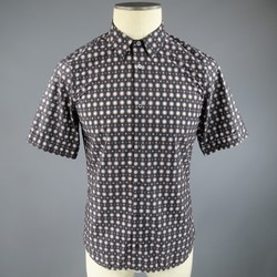 JIL SANDER Size S Charcoal & Pink Spotted Polyamide Strontium Shirt