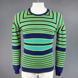JIL SANDER Size S Seafoam Green Yellow & Navy Striped Cotton Pullover Sweater