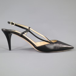 JIMMY CHOO Size 12 Black Leather Asymmetrical Slingback Pumps