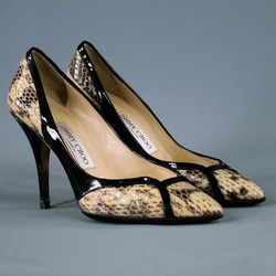 JIMMY CHOO Size 6 Beige Leather Snakeskin Pointed Toe Pumps