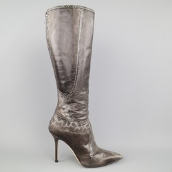 JIMMY CHOO Size 7 Grey Karung Snakeskin Million Knee High Boots