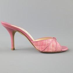 JIMMY CHOO Size 7.5 Pink Woven Raffia & Leather Open Toe Mules