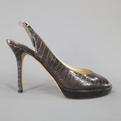 JIMMY CHOO Size 9 Taupe Brown Crocodile Leather Slingback Peep Toe NOVA Pumps
