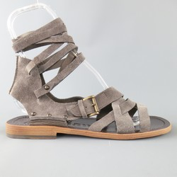 JOHN GALLIANO Size 9 Grey Suede Gladiator Wrapped Ankle Strap Sandals