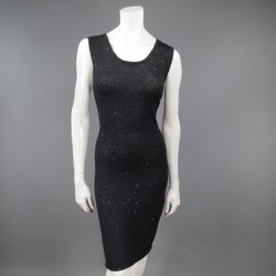 JOHN GALLIANO Size M Black Sheer Sequin Knit Cocktail Dress