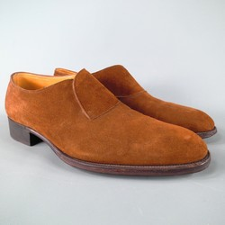 JOHN LOBB -ABBEY- Size 7.5 Brown Suede Loafers