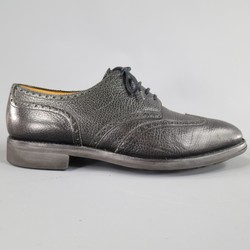 JOHN LOBB -DARBY- Size 10.5 Black Matte Pebbled Leather Lace Up Brogues