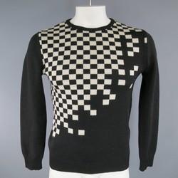 JOHN RICHMOND Size L Black & White Checkered Wool Crew Neck Pullover