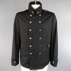 JOHN VARVATOS 44 Black Cotton Double Breasted Brass Buttons Military Jacket