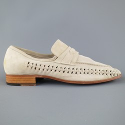 JOHN VARVATOS Size 9 Beige Whipstitch Woven Suede Loafers