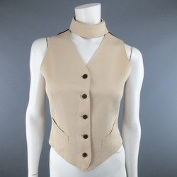 JUNIOR GAULTIER Size 8 Beige & Black Wool Velcro Choker Vest