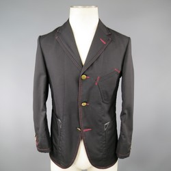 JUNYA WATANABE 36 Black Wool / Mohair Red Stitching Sport Coat