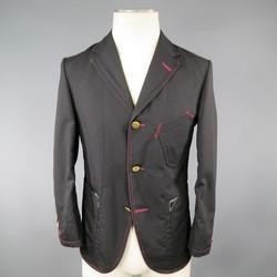 JUNYA WATANABE 36 Black Wool / Mohair Red Stitching Sport Coat
