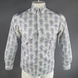 JUNYA WATANABE Size S Blue Cotton Naturalistic Paisley Long Sleeve Shirt