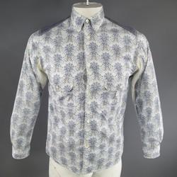 JUNYA WATANABE Size S Blue Cotton Naturalistic Paisley Long Sleeve Shirt