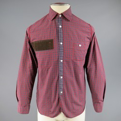 JUNYA WATANABE Size S Red Plaid Cotton Brown Corduroy Long Sleeve Shirt