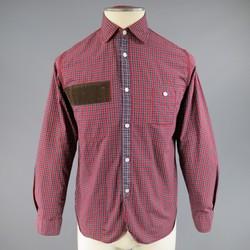 JUNYA WATANABE Size S Red Plaid Cotton Brown Corduroy Long Sleeve Shirt