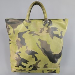 JUNYA WATANABE X VANSON Green Camouflage Leather Tote Bag