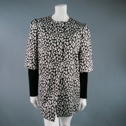 JUST CAVALLI Size 10 Metallic Silver Cheetah Jacquard Layered Puff Sleeve Coat