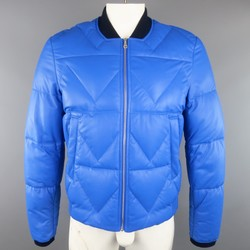KENZO L Blue Chevron Quilted Leather Bomber Jacket