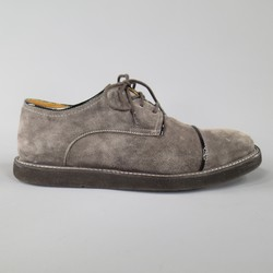 KENZO Size 8 Gray Suede Black Patent Piping Lace Up Creepers