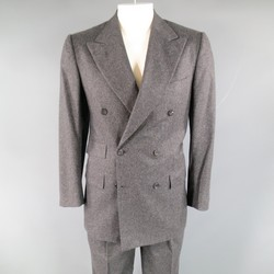 KITON 40 Regular Charcoal Cashmere Peak Lapel Double Breasted 33 30 Suit