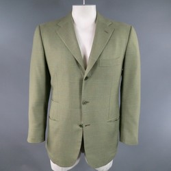 KITON 42 Regular Light Olive Green Windowpane Cashmere Sport Coat