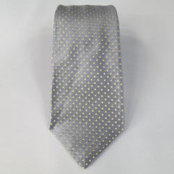 KITON Charcoal & Green Polka Dot Silk Satin Tie