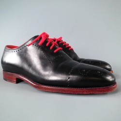 KITON Size 7.5 Black & Red Leather Lace Up
