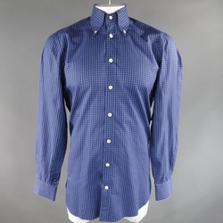 KITON Size L Blue & Brown Cotton Plaid Long Sleeve Shirt