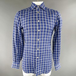 KITON Size L Blue Plaid Linen Long Sleeve Shirt
