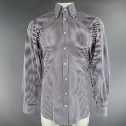 KITON Size L Brown & Blue Plaid Cotton Long Sleeve Shirt