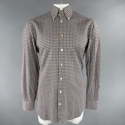 KITON Size L Brown & White Gingham Plaid Brushed Cotton Long Sleeve Shirt