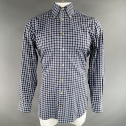 KITON Size L Grey & Blue Plaid Cotton Long Sleeve Shirt