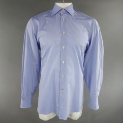 KITON Size L Light Blue Cotton Long Sleeve Shirt
